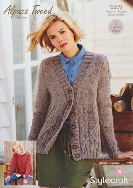 Checkerboard Cable Cardigan & Jumper in Stylecraft Alpaca Tweed Chunky - 9209