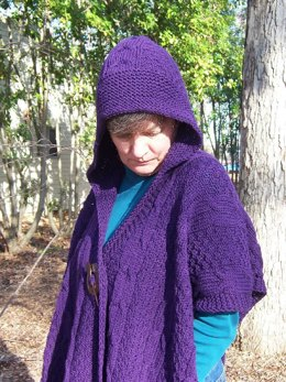 Plum Perfect Cabled Cape