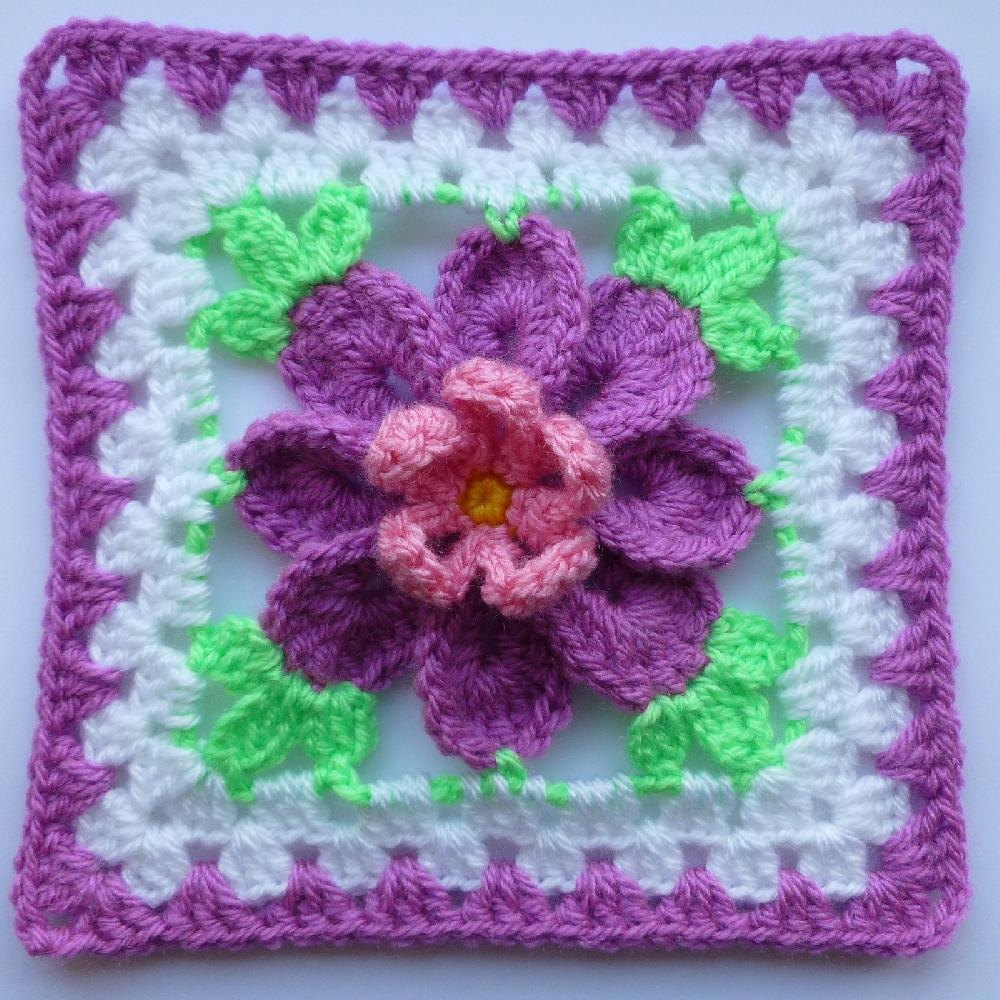 Flower In Granny Square 3 Crochet Pattern By Luba Davies