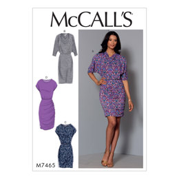 McCall's Misses' Batwing or Dolman Sleeve Dresses M7465 - Sewing Pattern