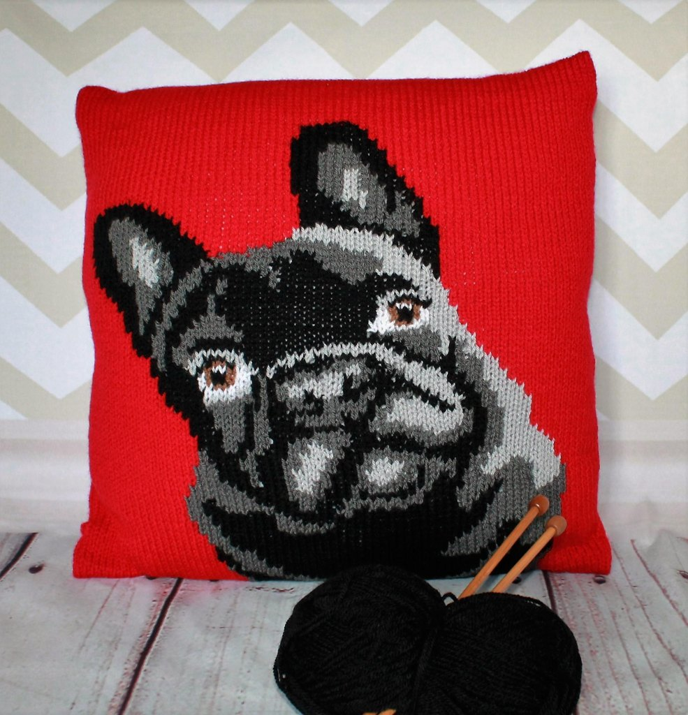 French bulldog pet portrait cushion cover knitting pattern cushion cover knitting pattern zoom bankloansurffo Images