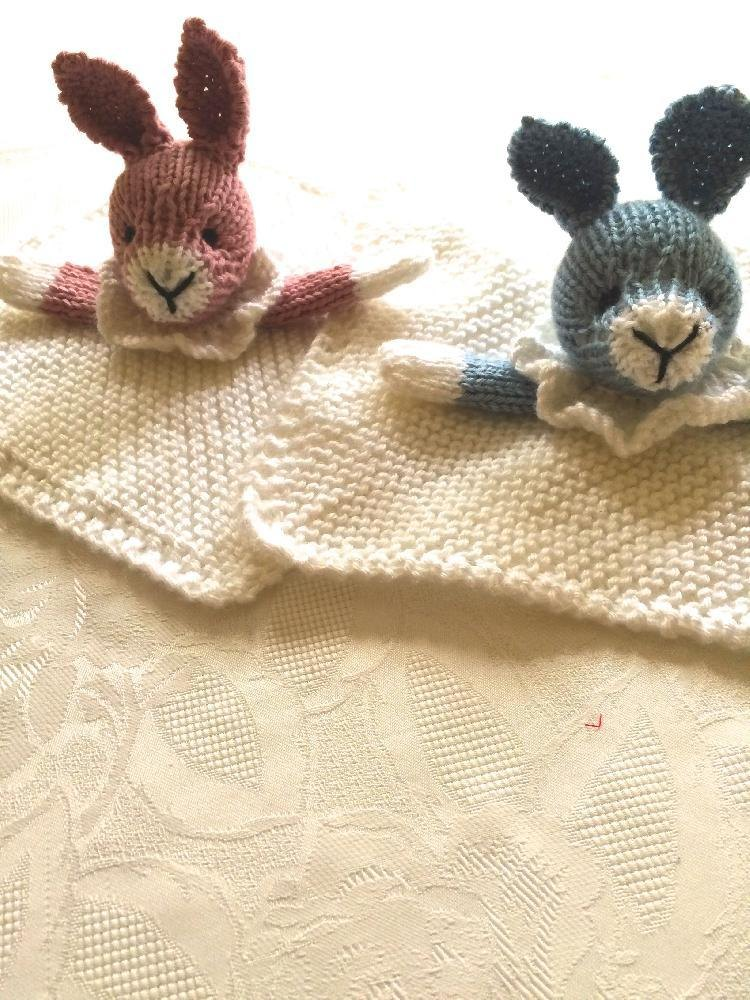 Bunny Mini Cuddly Blankie Knitting Pattern By Gypsycream