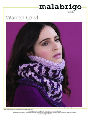 Warren Cowl in Malabrigo Rasta - Downloadable PDF