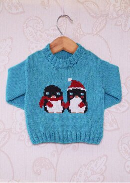 Intarsia - Lovely Penguins Chart Childrens Sweater