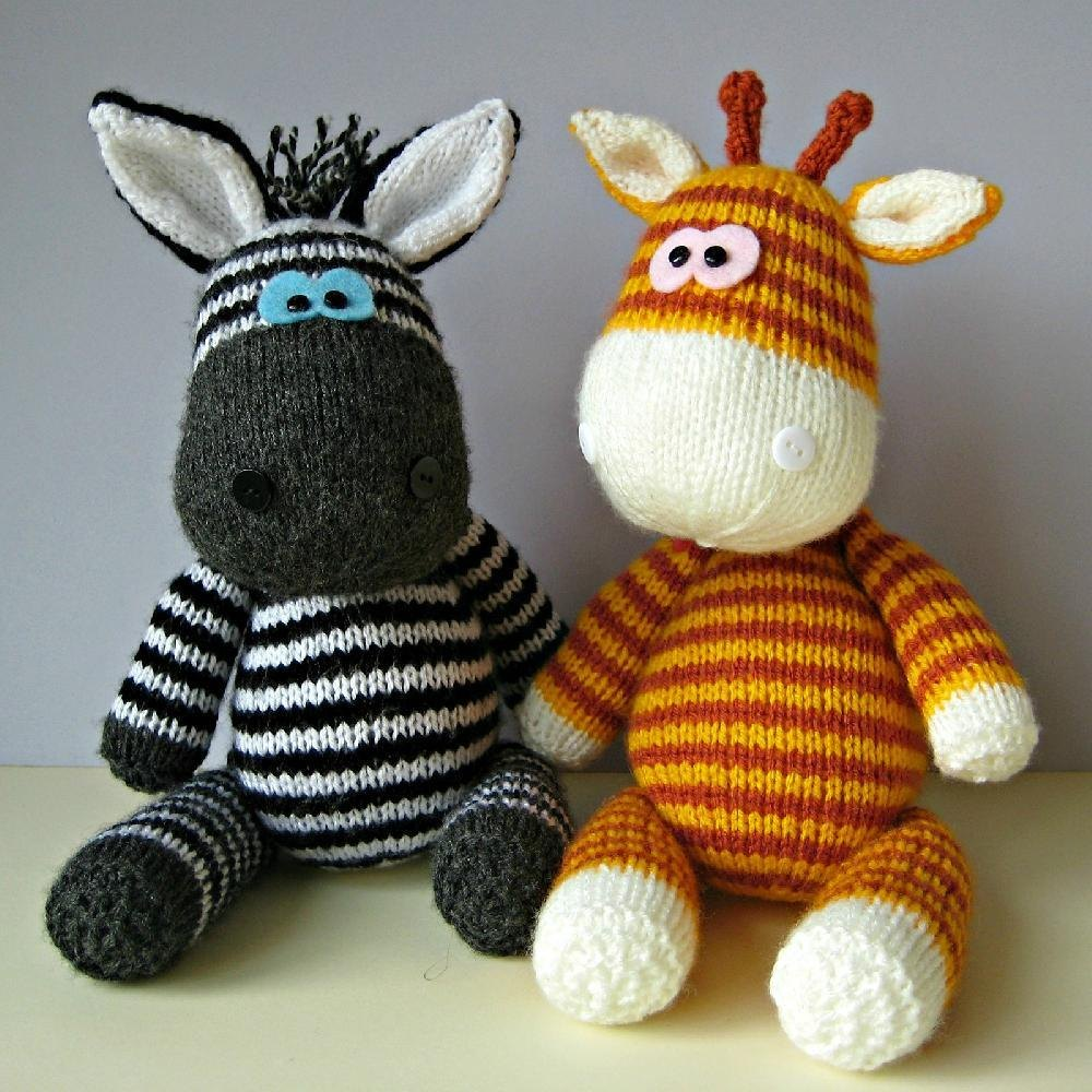 Knitting Pattern For Zebra Hat : Gerry Giraffe and Ziggy Zebra Knitting pattern by Amanda Berry Knitting Pat...