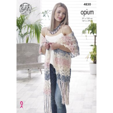 Shawls in King Cole Opium DK - 4830 - Downloadable PDF