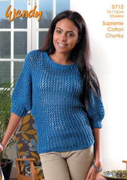 Batwing Sweater in Wendy Supreme Cotton Chunky - 5712