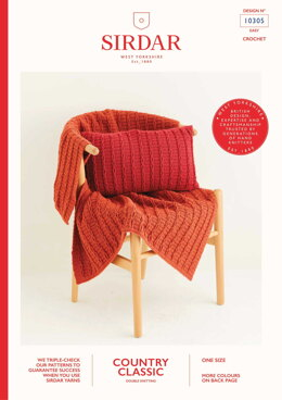 Blanket & Cushion in Sirdar Country Classic DK - 10305 - Downloadable PDF