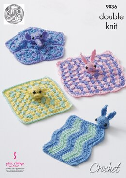 Baby Comfort Blankets in King Cole Cherished DK - 9036pdf - Downloadable PDF