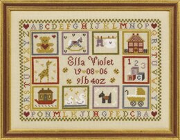 Historical Sampler Company Toy Shop Birth Sampler Cross Stitch Kit - 27cm x 20cm