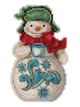 Mill HillJim Shore Snowman with Candy CaneCross StitchKit - 3.5in x 5in