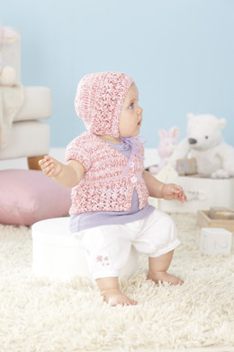 Cardigans and Bonnet in Sirdar Snuggly Peekaboo DK - 4463