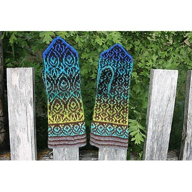 Peacock Feathers Mittens