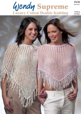 Long and Short Lacy Ponchos in Wendy Cosmic and Supreme Cotton DK - 5130