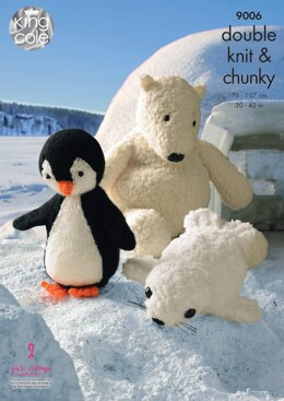 Penguin, Polar Bear and Seal Toys in King Cole DK & Chunky - 9006 - Downloadable PDF