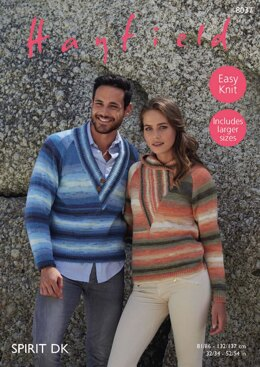 His and Her Sweaters in Hayfield Spirit DK - 8037 - Downloadable PDF