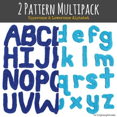2 Pattern Multipack: Uppercase and Lowercase Alphabet Motif Patterns