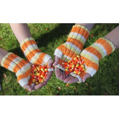 Hand-dyed Candy Corn Fingerless Mitts