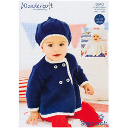 Baby Beret and Coat in Stylecraft Wondersoft DK - 8940