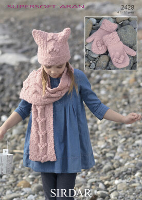 Girl's T-Bag Hat, Scarf & Mittens in Sirdar Supersoft Aran - 2428
