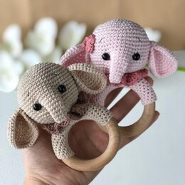 Elephant Rattle/Teether Ring