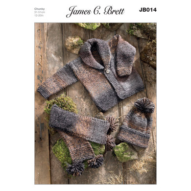 Hat, Scarf and Jacket in James C. Brett Marble Chunky - JB014