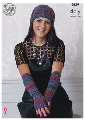 Scarf, Hat, Gloves & Polo Neck Warmer in King Cole Party Glitz 4Ply - 4639 - Downloadable PDF