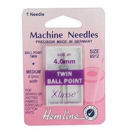 Hemline Machine Needles: Twin Universal - Ballpoint