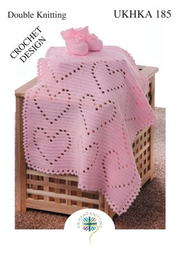 Crochet Heart Blanket and Bootees in King Cole DK - UKHKA185pdf - Downloadable PDF