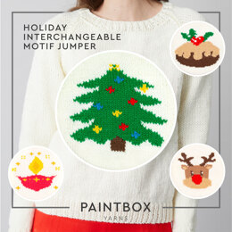 """ Holiday Interchangeable Motif Jumper "" - Free Jumper Knitting Pattern For Women in Paintbox Yarns Simply Chunky by Paintbox Yarns"