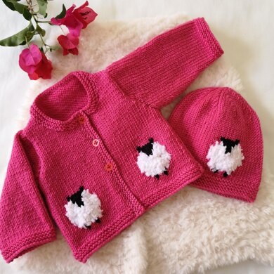 Baby Sheep Cardigan and Hat