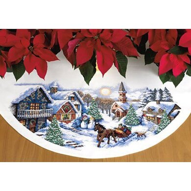 Dimensions Sleigh Ride Tree Skirt Cross Stitch Kit - 114cm