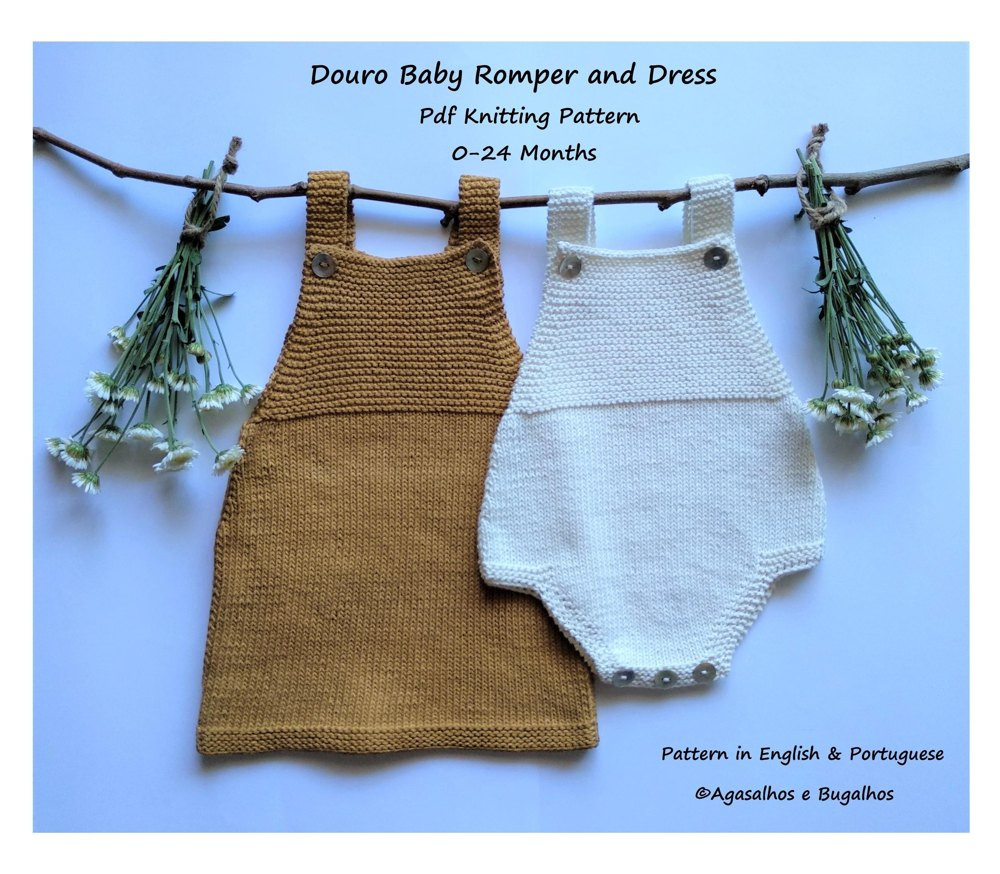 67f7b1dd534 Douro Baby Romper and Dress Knitting pattern by Agasalhos e ...