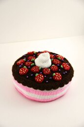 Strawberry Chocolate Cake Crochet Pattern, Cake Amigurumi, Food Crochet Pattern