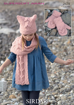 Hat, Scarf and Mittens in Sirdar Supersoft Aran - 2428 - Downloadable PDF
