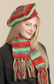 Knit Kool-Aid Dyed Hat & Scarf in Lion Brand Fishermen's Wool - 20318AD