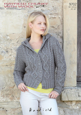 Hoodie Jacket in Hayfield Chunky with Wool - 9702 - Downloadable PDF