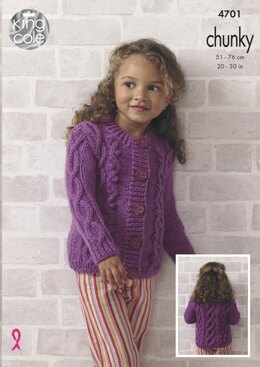 Top and Cardigan in King Cole Big Value Chunky - 4701 - Downloadable PDF