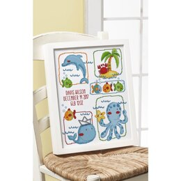 Bucilla Counted Cross Stitch Kit 10.5in x 13.5in - Sea Life Birth Record (14 Count)