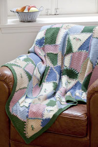 Embroidered Crazy Quilt Afghan in Caron Simply Soft - Downloadable PDF