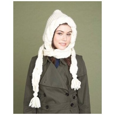 Tasseled Hood Lion Brand Wool-Ease Thick & Quick - 60614