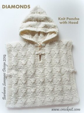 DIAMONDS Knit Poncho with Hood