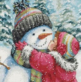 Dimensions A Kiss for Snowman Cross Stitch Kit - 13cm x 13cm