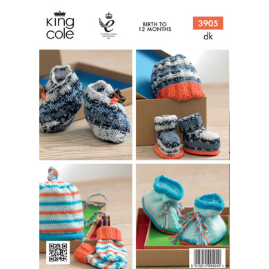 Baby Bootees, Mittens, Hat in King Cole Comfort DK and Comfort Prints - 3905
