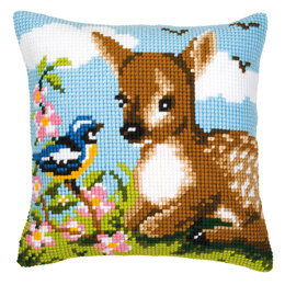 Vervaco Blue Tit and Fawn Cushion Front Chunky Cross Stitch Kit - 40cm x 40cm