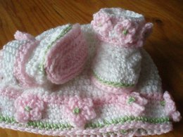 Rosy Posy Baby Booties and Hat
