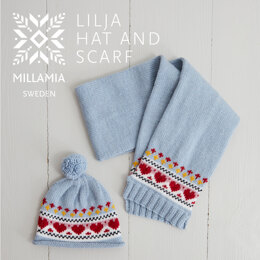 """"""" Lilja Hat and Scarf """" - Accessory Knitting Pattern For Girls in MillaMia Naturally Soft Merino by MillaMia"""