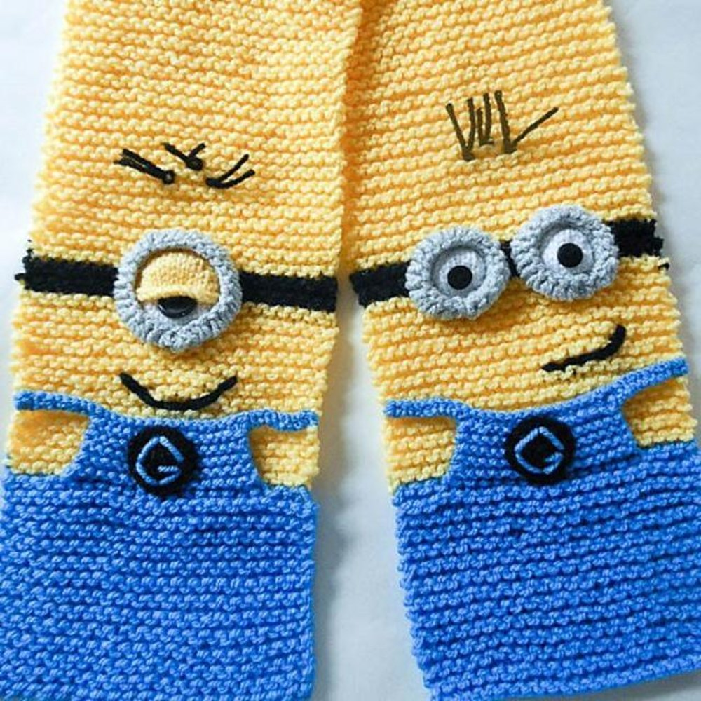 Knitting Pattern For Minion Jumper : Minion Character Scarf Knitted Version Knitting pattern by ...