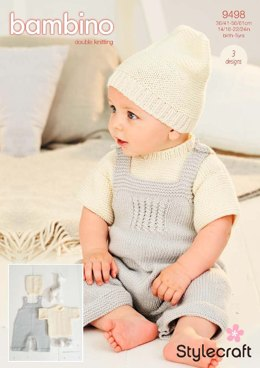 T-shirt, Dungarees and Hat in Stylecraft Bambino DK- 9498 - Downloadable PDF