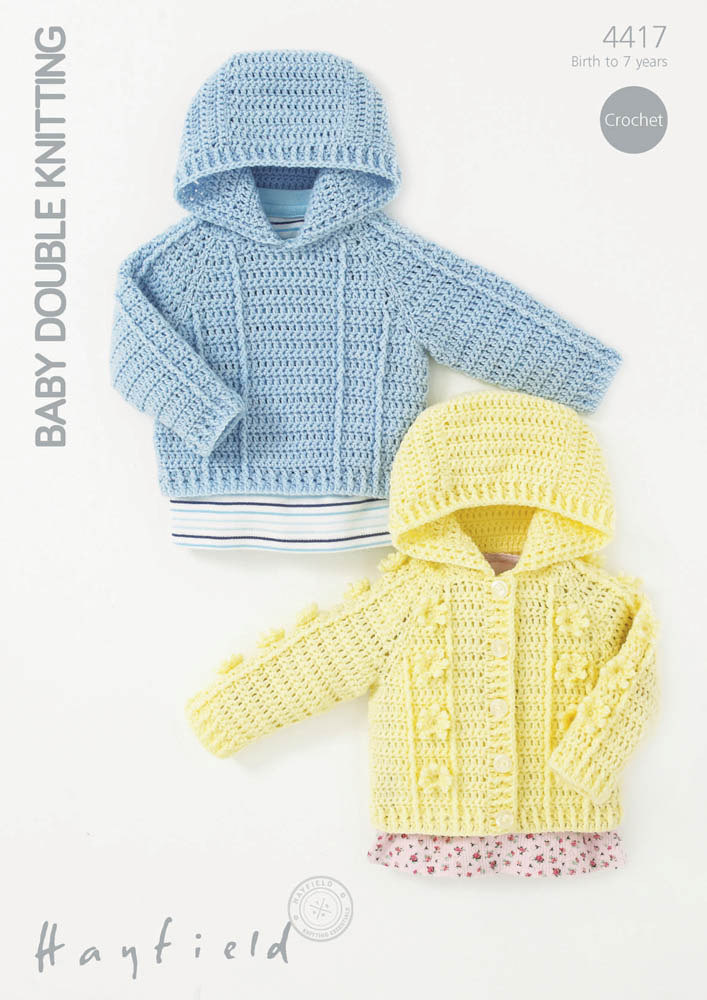 Hayfield Knitting Patterns For Babies : Crochet Textured Jumper and Cardigan in Hayfield Baby DK - 4417